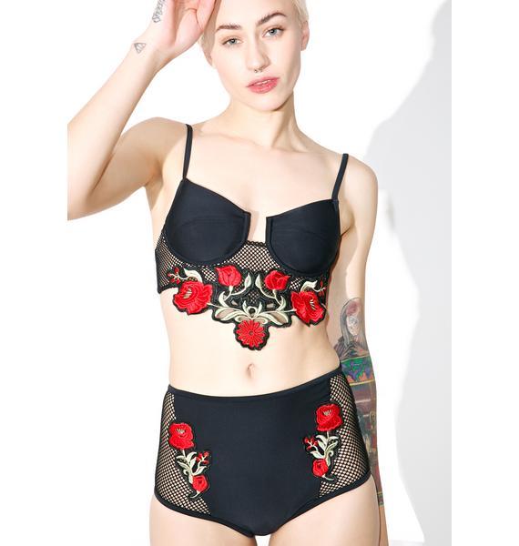 Jaded London Black Rose Embroidered Bikini Top