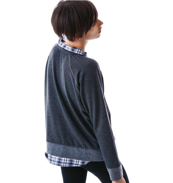 JET by John Eshaya Preppy Collared Sweatshirt