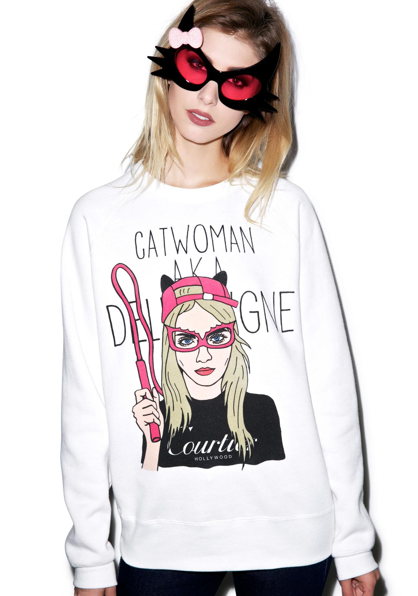Hollywood Made Cat Woman Crew Neck Pullover