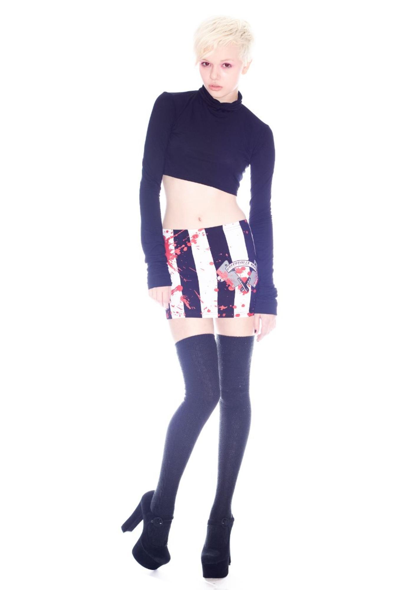 Kreepsville 666 Cleaver Stripey Mini Skirt