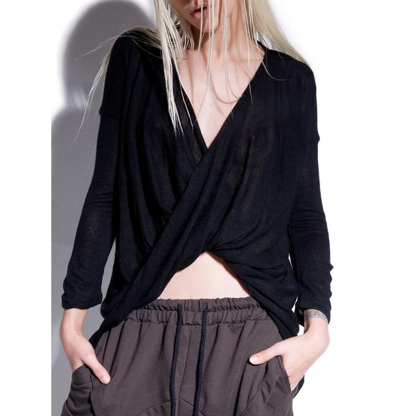 MNML Abysmal Draped Surplice Top