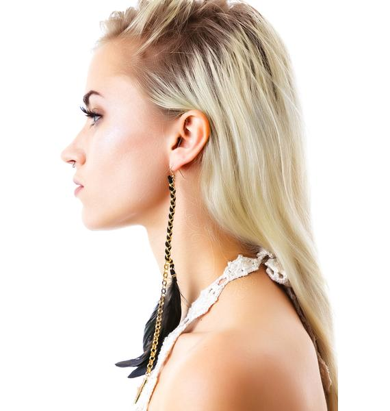 Ettika Cross Pendant Charm Feather Earring