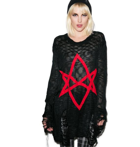 Killstar Hexagram Knit Sweater