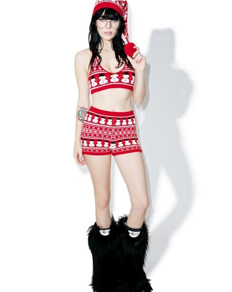 Snowman Knit Bralette
