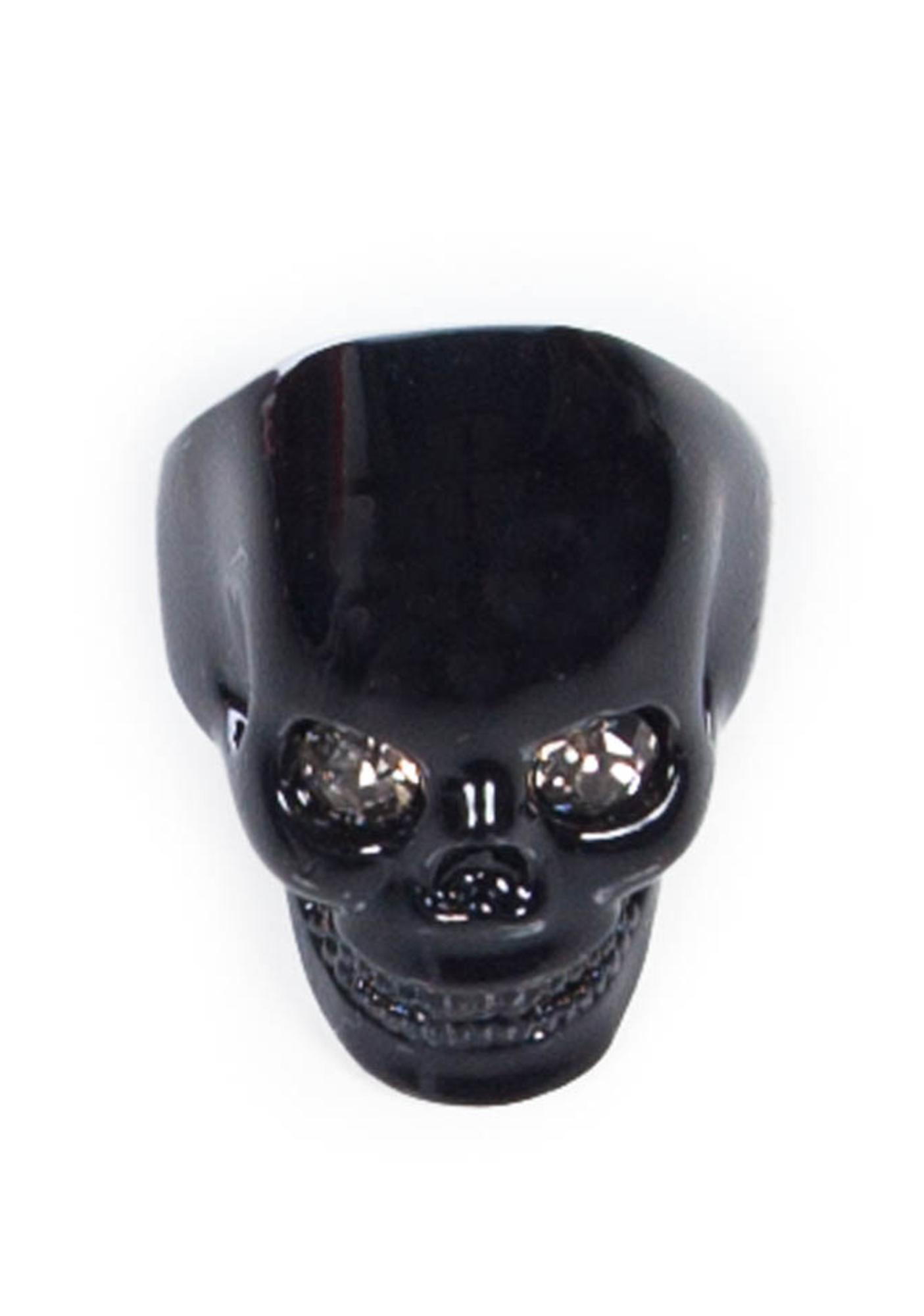 Wildfox Couture Black Hematite Skull Ring