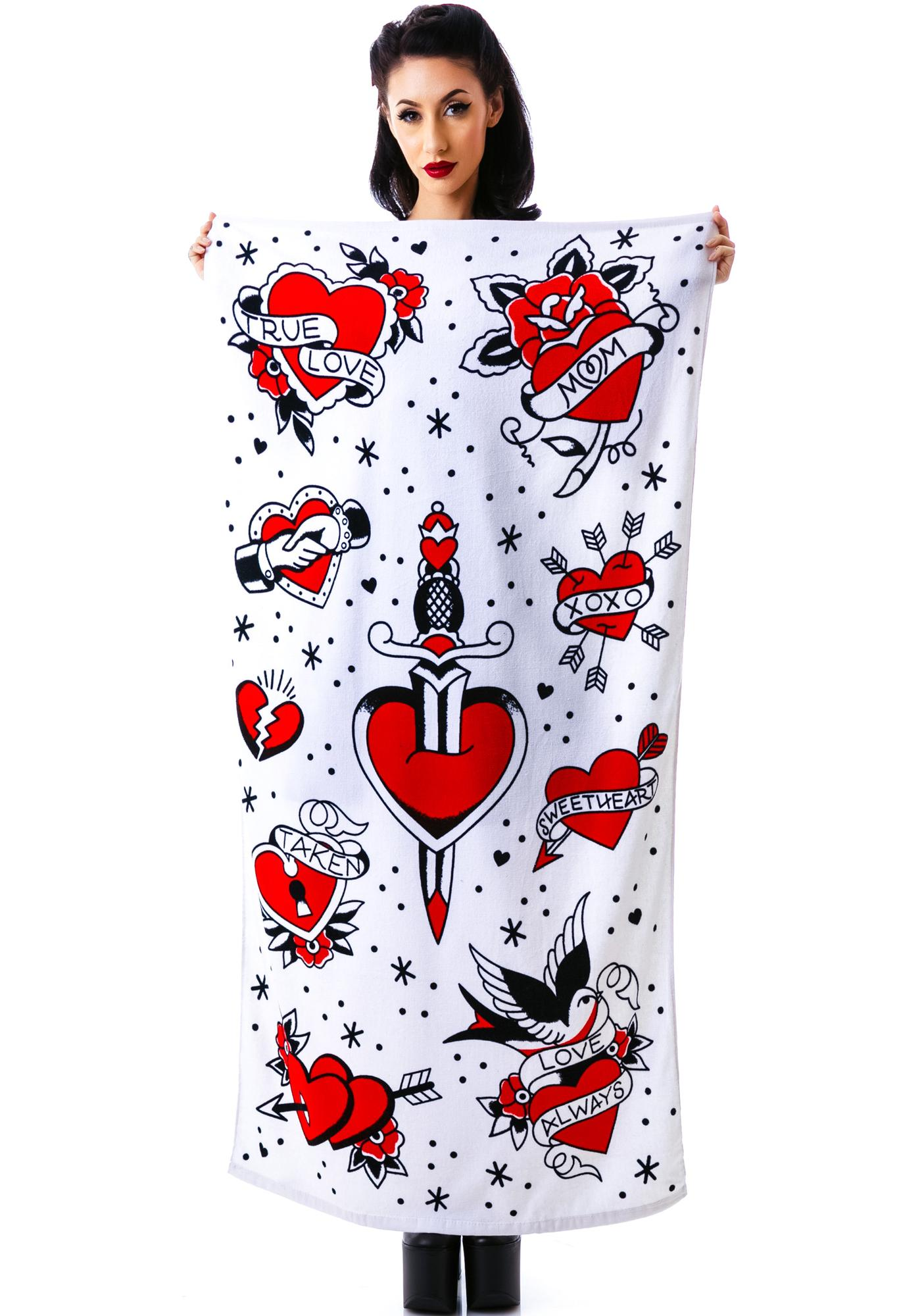 Sourpuss Clothing Tattoed Hearts Beach Towel