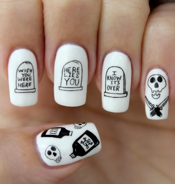 Nail Pop Death Water Slide Nail Decals