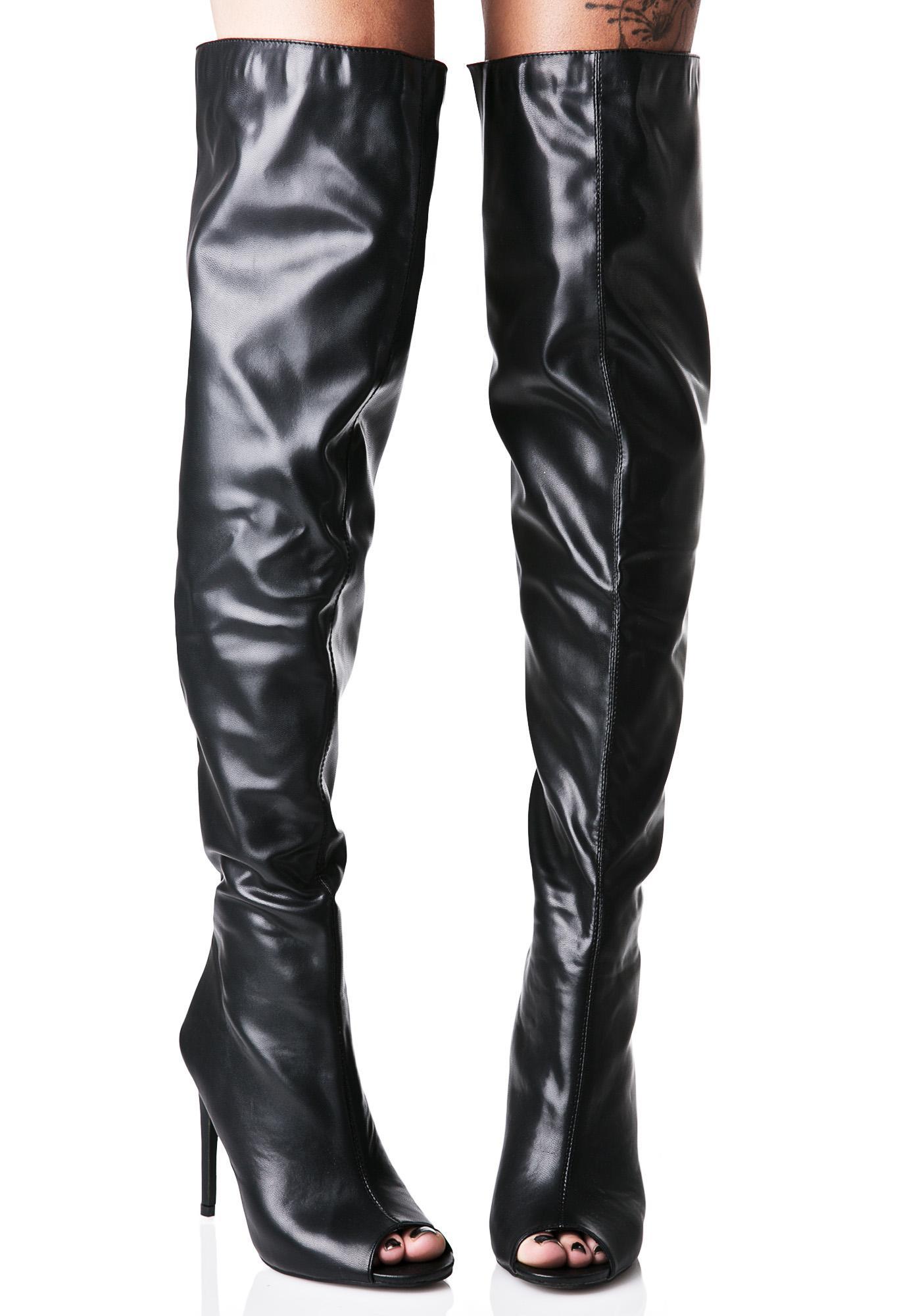 black vegan leather thigh high boots dolls kill