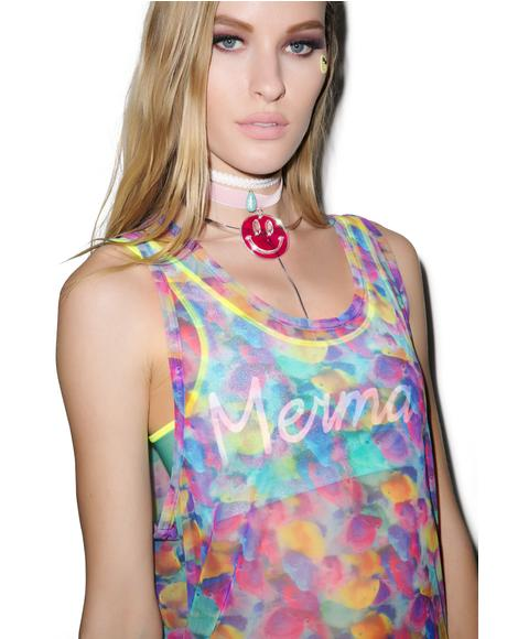All Over Printed Fishy Sheer Vest