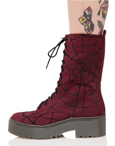 Walking In My Web Heavy Sole Boots