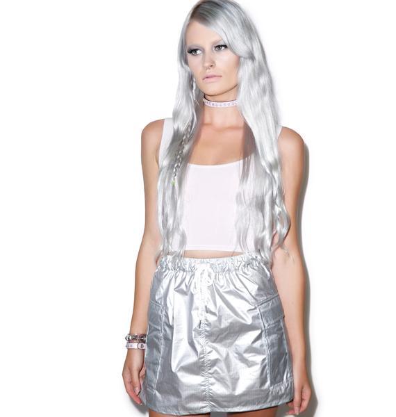 Joyrich Metallic Rich Athletic Cargo Skirt