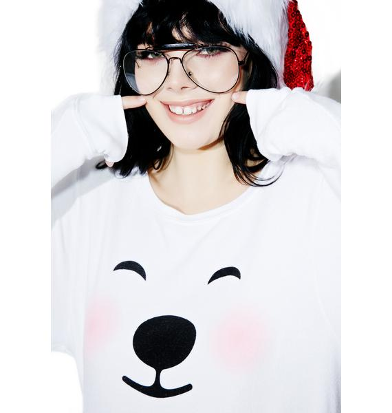 Wildfox Couture Polar Bear Emoji Baggy Beach Jumper