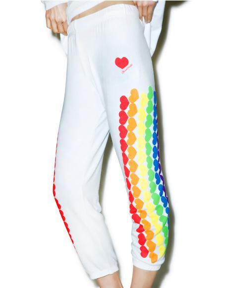 Lovie Rainbow Heart Cropped Sweatpants
