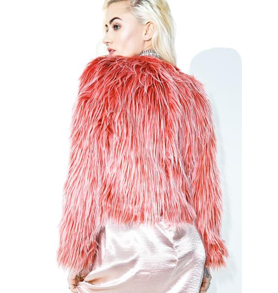 Glamorous Raspberry Sherbert Faux Fur Coat