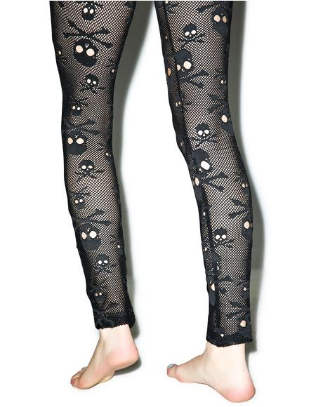 Fishnet Skull Leggings