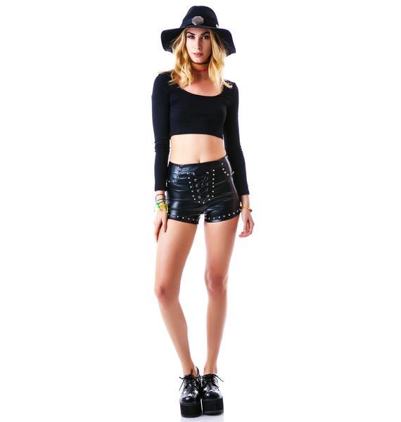 Hard Rock Studded Pleather Shorts