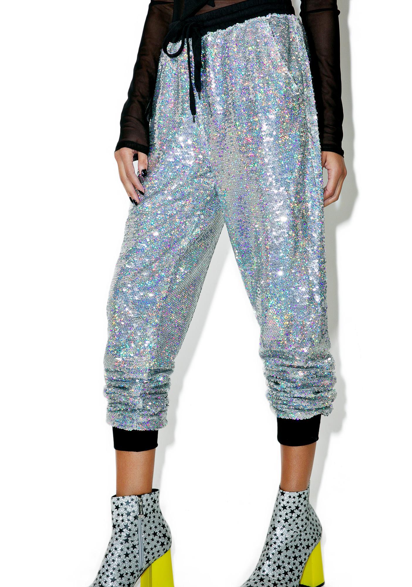 Glamorous Celebrity Skin Sequin Joggers