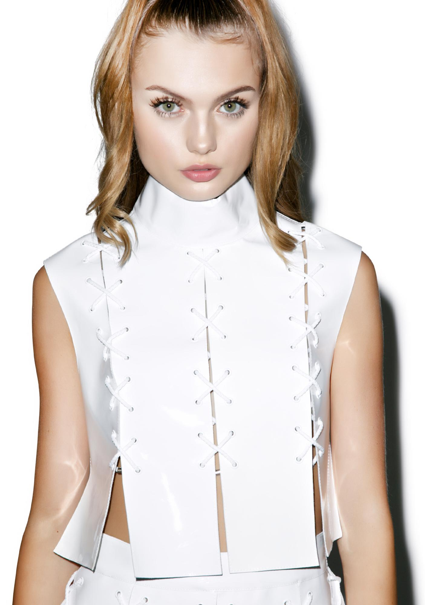 Maria ke Fisherman Cross Eyelet Patent Leather Top