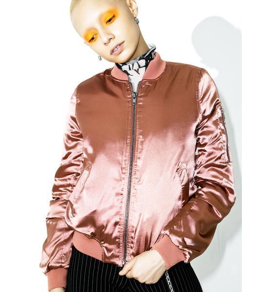 Pink Champagne Bomber Jacket