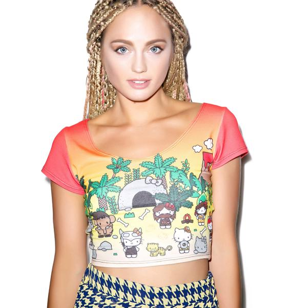 Japan L.A. Hello Kitty Caveman Short Sleeve Crop Top
