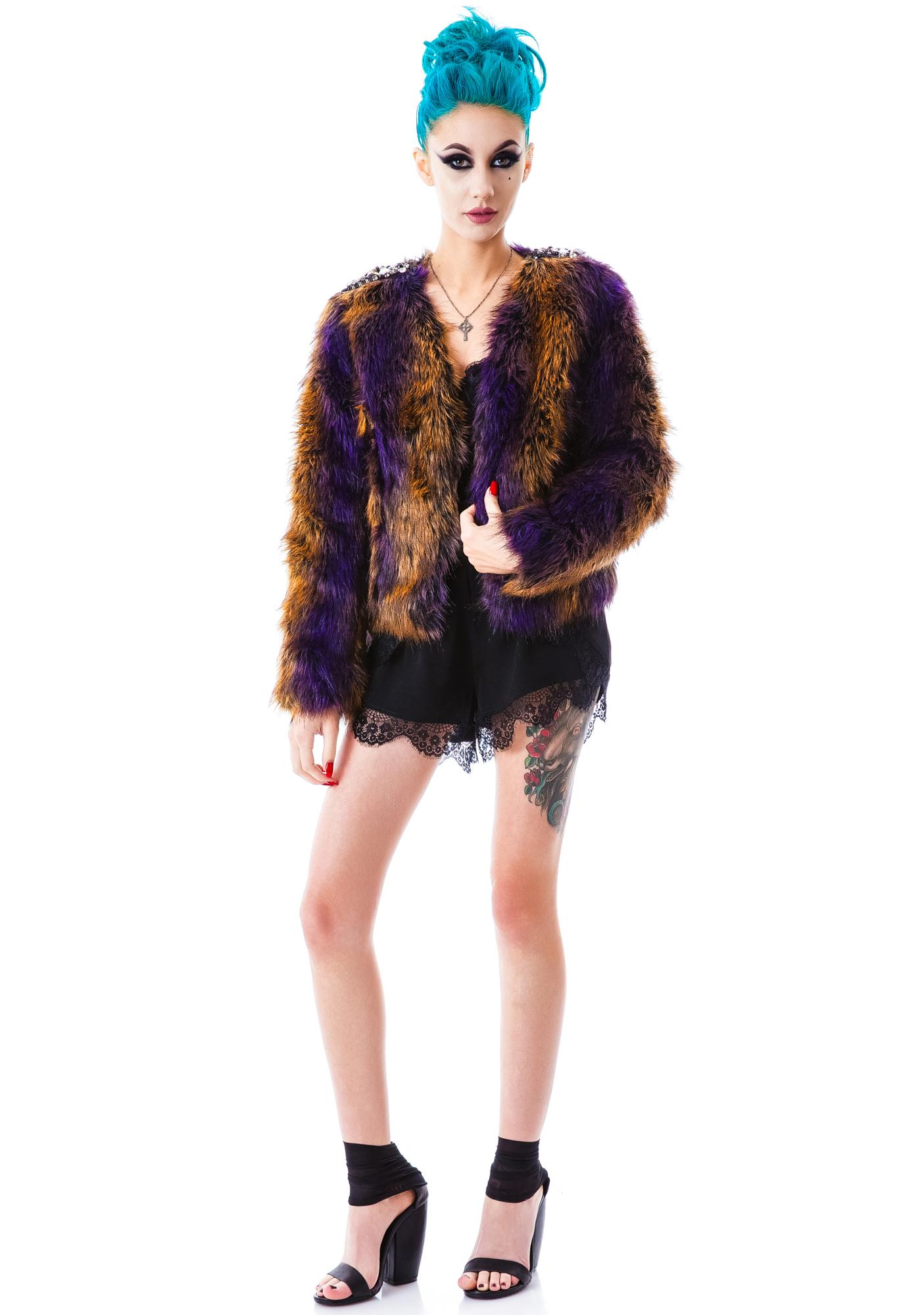 Embellished Lies Faux Fur Jacket