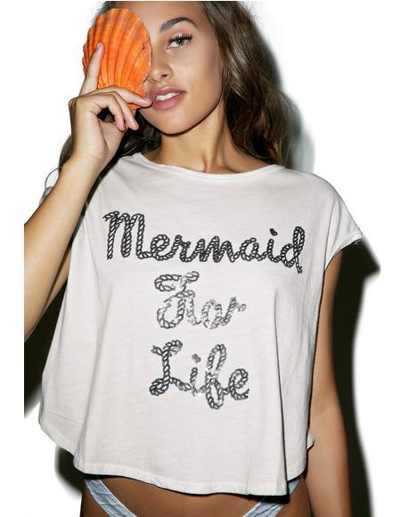 Mermaid For Life Oversized Crop Tee