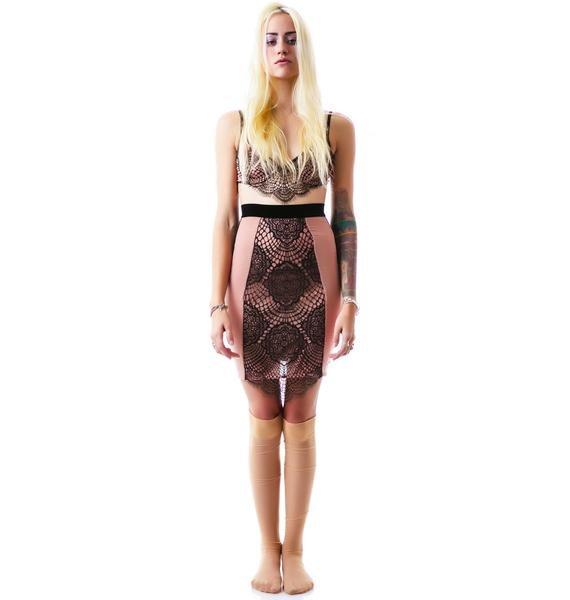 For Love & Lemons Very French Hi Waist Slip Skirt