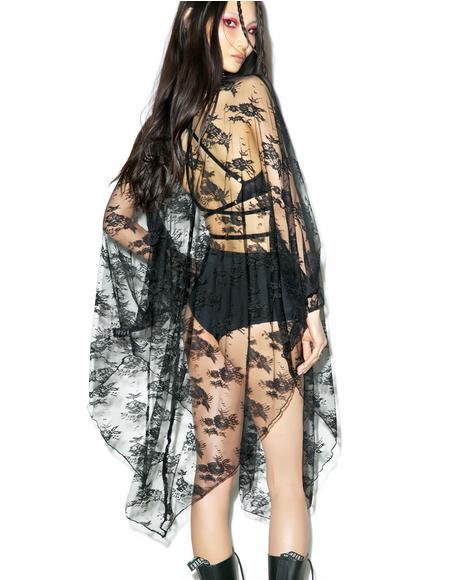 Death Wish Lace Batwing Dress