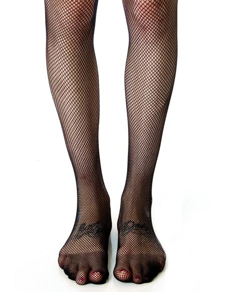 Fishnet Back Seam Tights