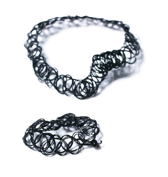 The Cobra Snake Nostalgia Bombin' Tattoo Choker & Bracelet Set