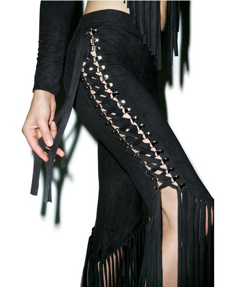 Get Twisted Lace Up Fringed Pants