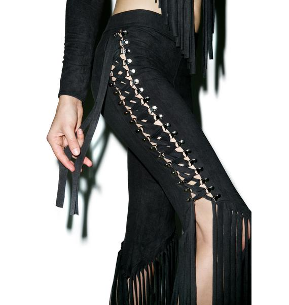 J Valentine Get Twisted Lace Up Fringed Pants