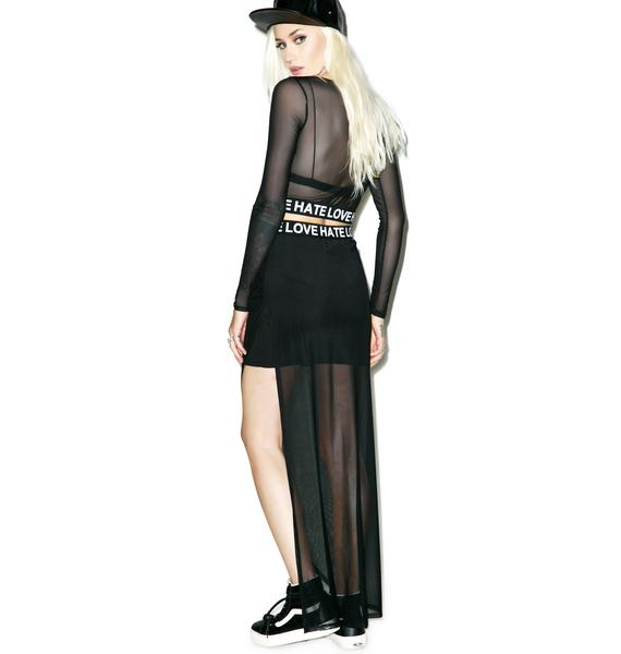 Hate Love Mesh Maxi Skirt