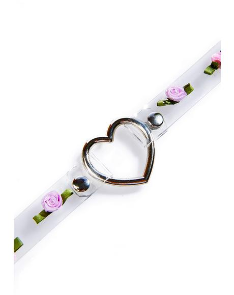 Rosey Heart O-Ring Choker