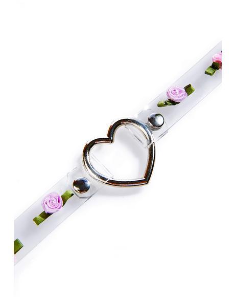 Rosey Heart O-Ring Choker