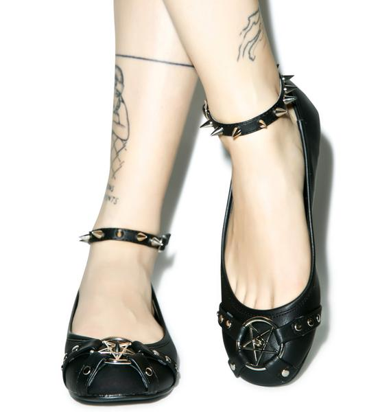 Demonia Star Studded Ankle Strap Flats
