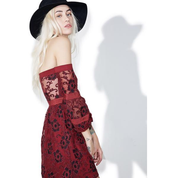 For Love & Lemons Burgundy Jolene Off-Shoulder Dress