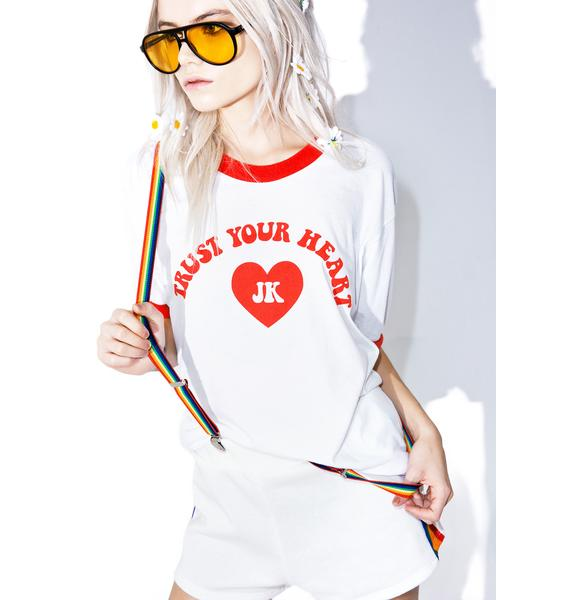 Burger And Friends Trust Your Heart Ringer Tee