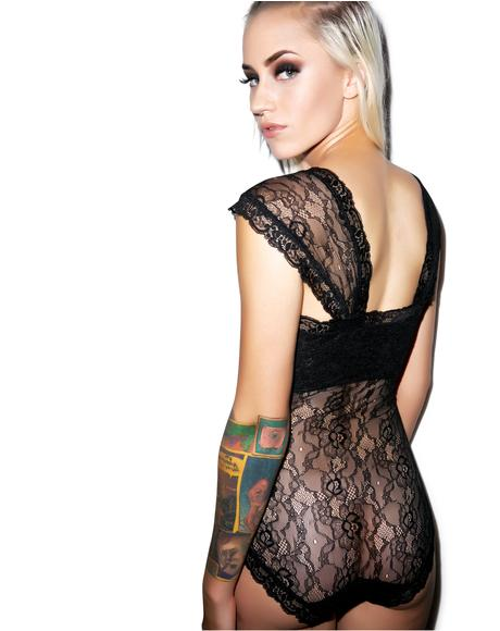 Black Romance Stretch Lace Bodysuit