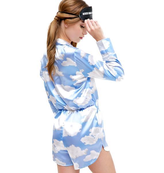 Jaded London Cloud Print Wrap Playsuit