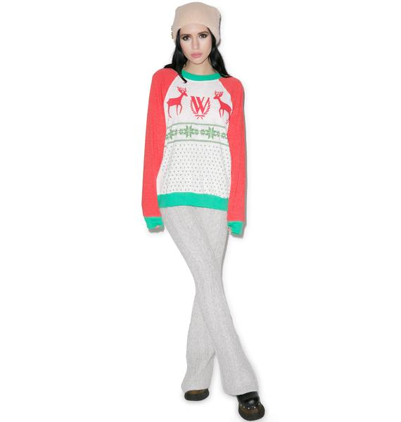 Wildfox Couture Pastel Snow Fox Kim Sweater