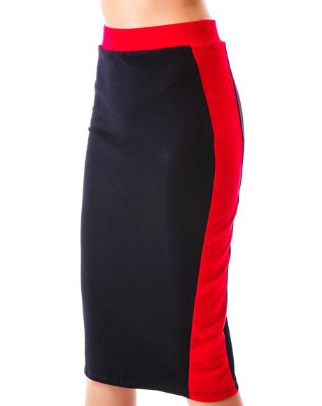Blocked Out Midi Skirt