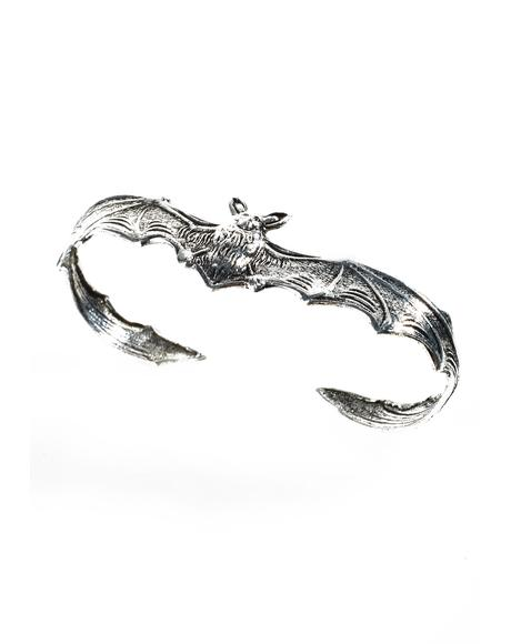 Silver Bat 3 Finger Ring