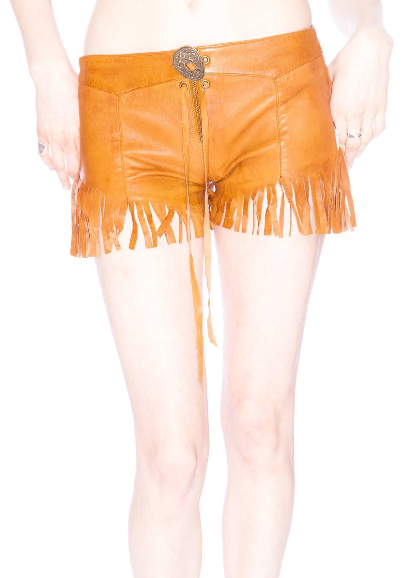 One Teaspoon Morrison Fringed Leather Shorts