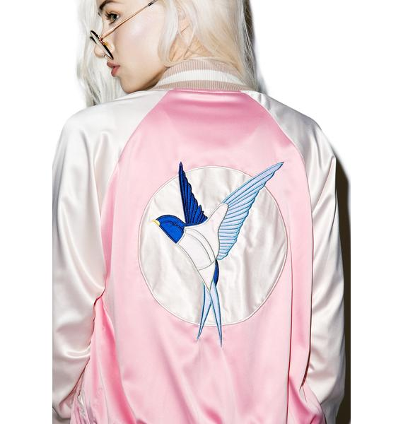 Chirp Chirp Satin Bomber Jacket