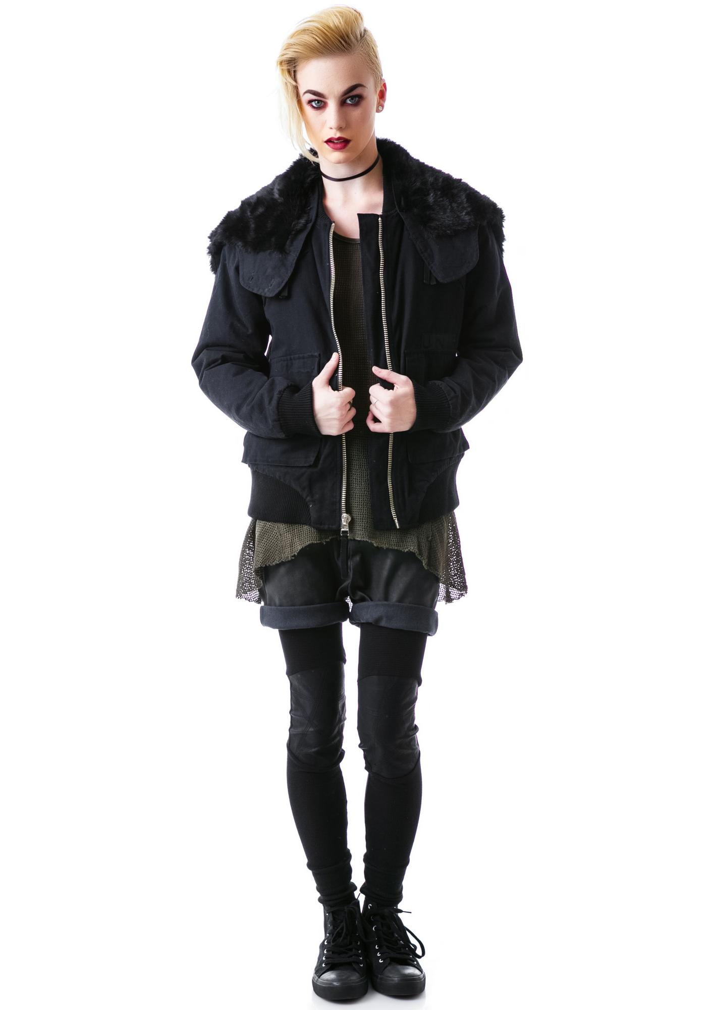 UNIF Zip Hood Bomber Jacket
