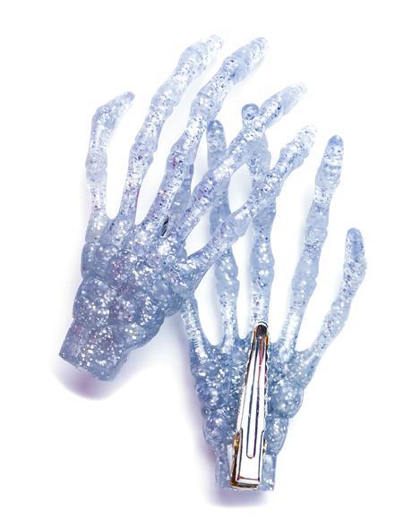 Skeleton Bone Hands Hair Slides