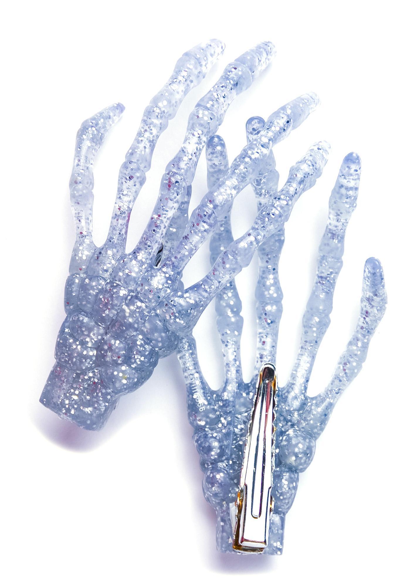 Kreepsville 666 Skeleton Bone Hands Hair Slides