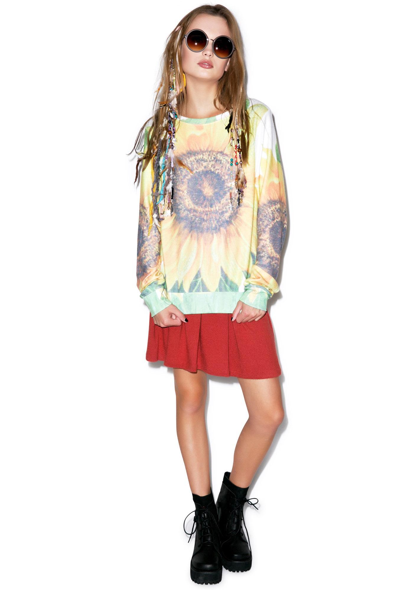 Wildfox Couture Big Sunflower Baggy Beach Jumper