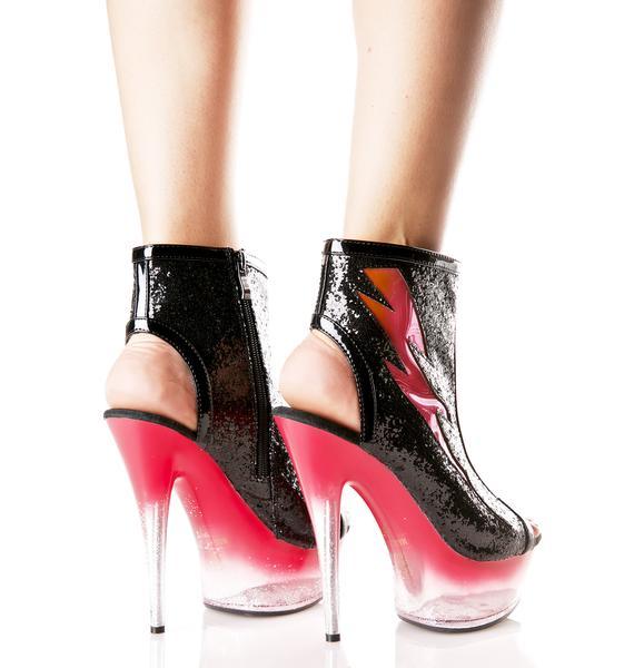 Glitter Thunder Peep-Toe Booties